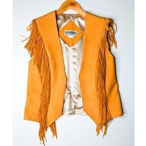 VTG Smith's Boho Leather Tassel Fringe Vest Med